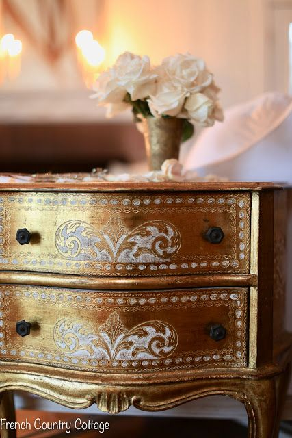Little vintage chest of drawers | French Country Cottage | Details and where to find this beautiful gold Italian vintage nightstand. #antiques #frenchvintage