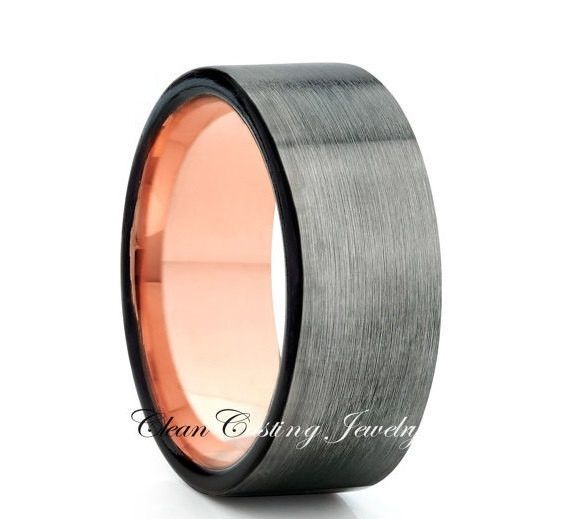 Brushed Flat Gray Tungsten Ring Rose Gold Comfort Fit