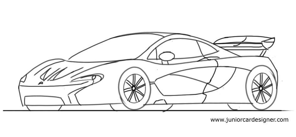 Easy Car Drawing Tutorial For Children Sports Car Side View Car