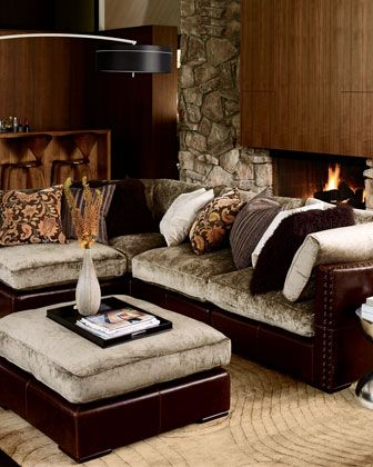 Chenille+u0026+Leather+Sectional+Sofa,+Five Piece+Set