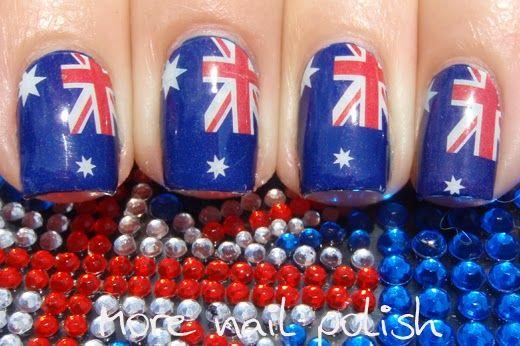 Aussie Nails Australian Flag Nail Art Nail Designs Pinterest