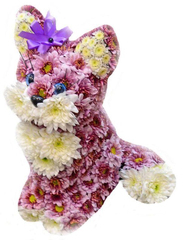 Игрушка из живых цветов. Композиция Кошечка с бантиком ...