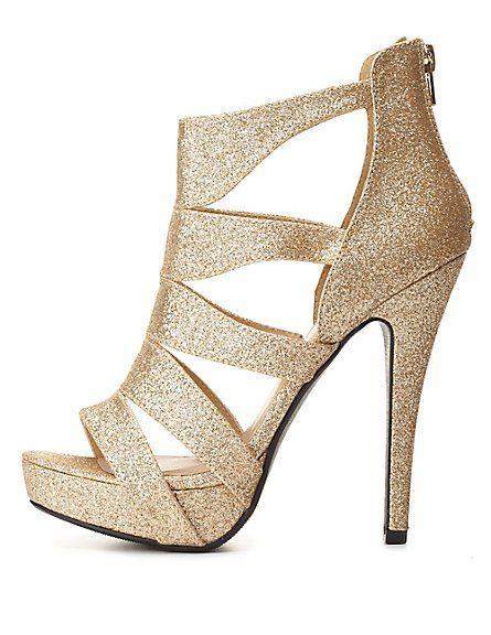 5cad4439b462 Strappy Caged Glitter Platform Heels  Charlotte Russe