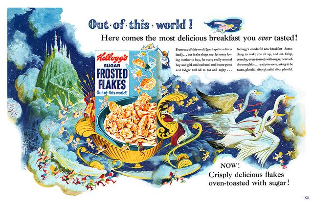 Kellogg's Frosted Flakes are out of this world! (1955) #vintage #1950s #food #cereal #breakfast
