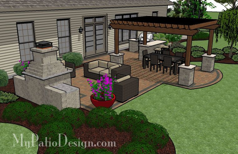 Patio Layout With Outdoor Kitchen Area..would Do Small Covered Pergola On  Top Of Bar Area As Well | Pool/Patio | Pinterest | Outdoor Kitchens, ...