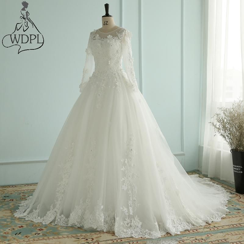 Dubai Luxury Crystal Flowers Ball Gown Wedding Dresses 2018 Long ...