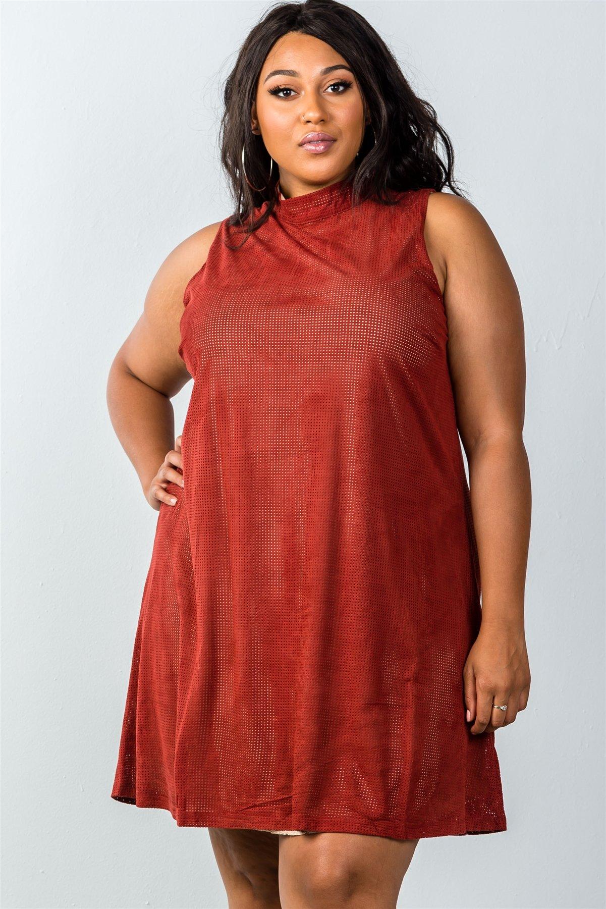 Ladies fashion plus size mini length rust and nude illusion high