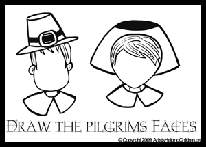 Draw Thanksgiving Pilgrim Faces Coloring Pages Printable Activity