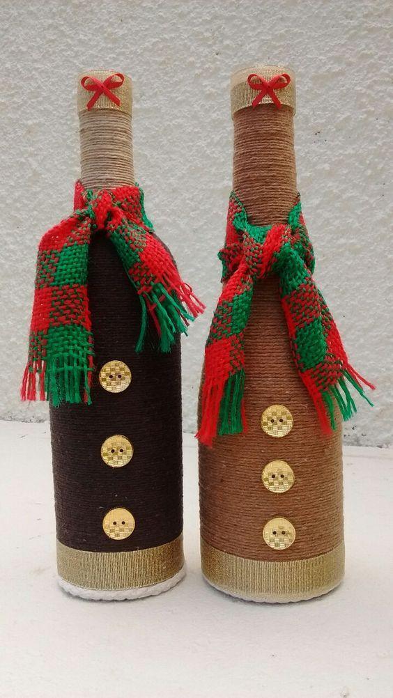 Decoraci n navide a con botellas de vidrio garrafas - Objetos rusticos para decoracion ...