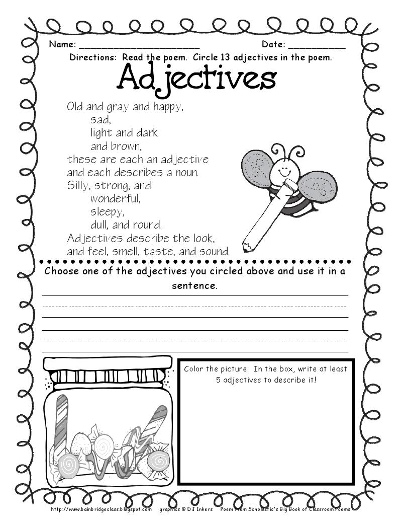 Bainbridge Adjectives School Stuff Pinterest