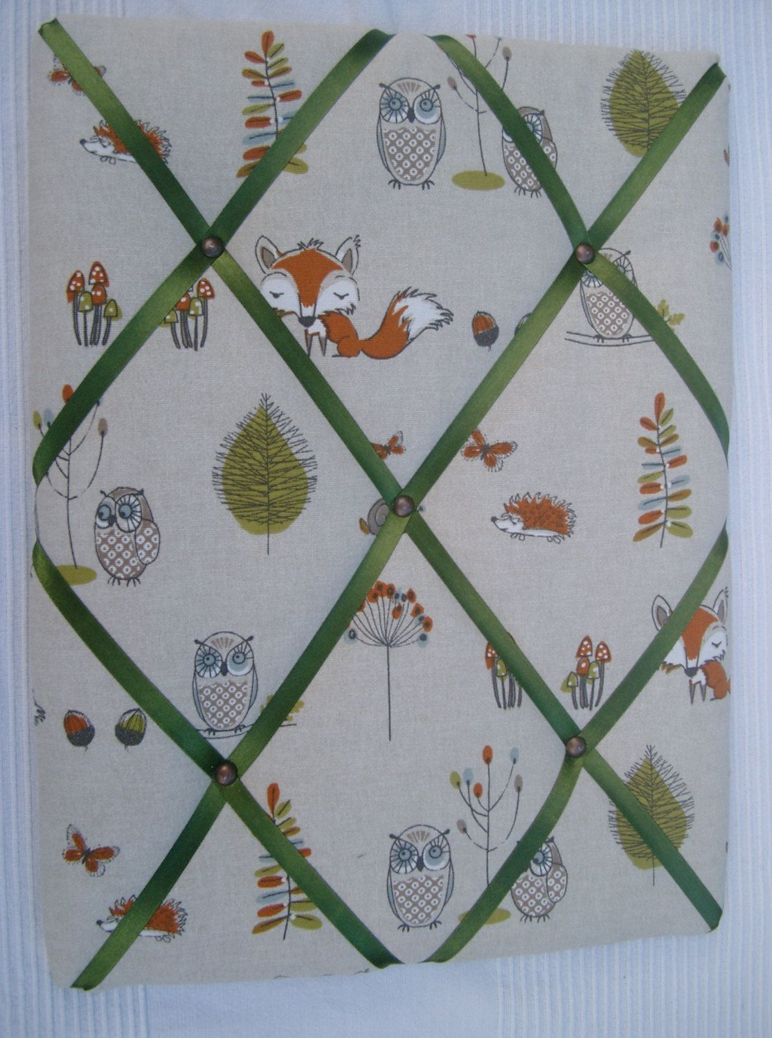 Handmade Padded Fabric Memo Board In Owl  Fox Design Fabric
