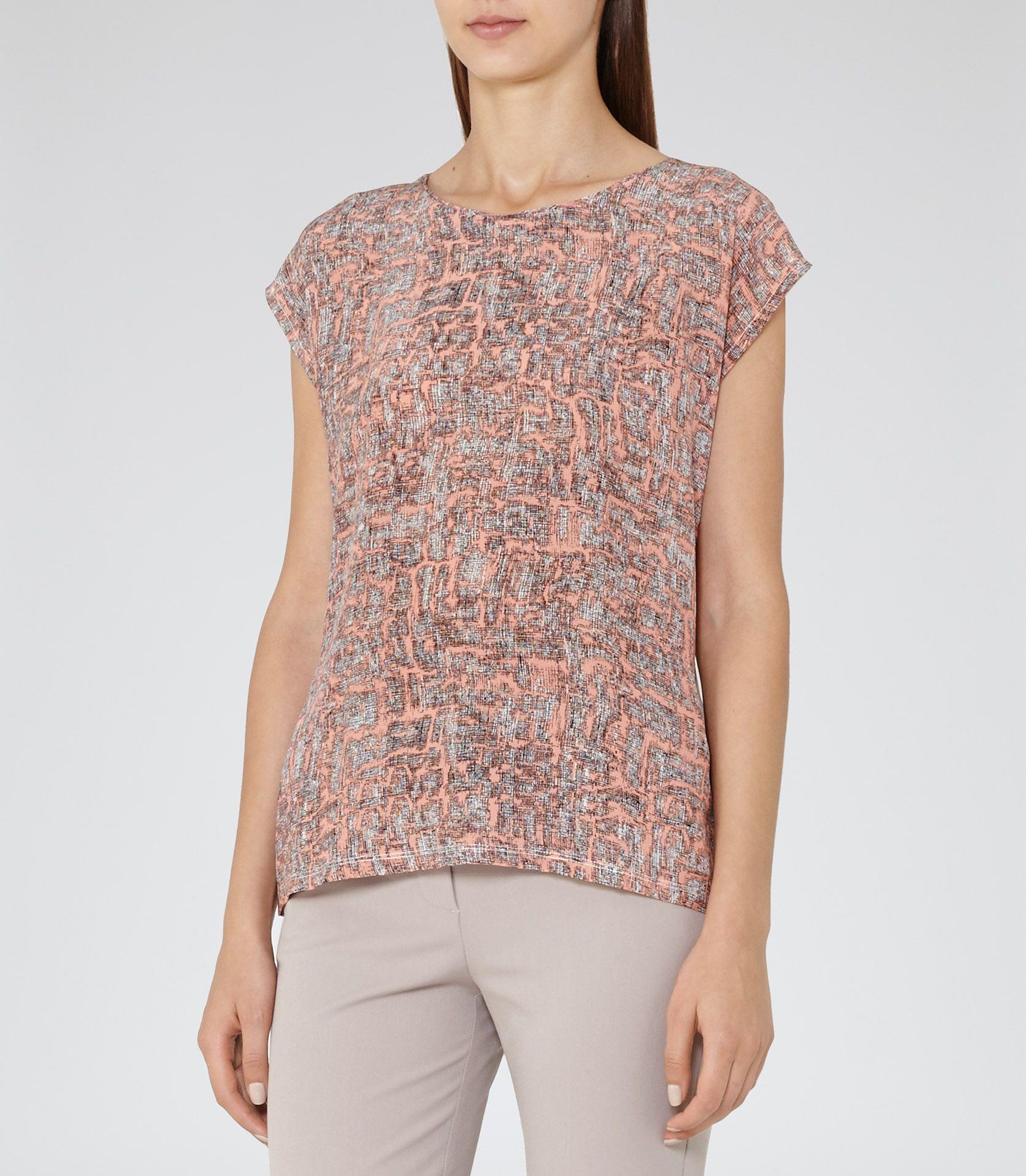 Black t shirt reiss - Womens Coral Black Printed Silk Front T Shirt Reiss Coco