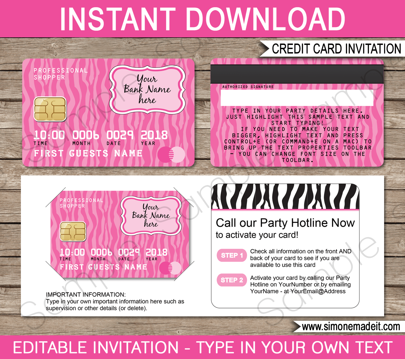 Mall Scavenger Hunt Invitations Template Pink Zebra Party Invite Template Invitation Template Invitation Cards