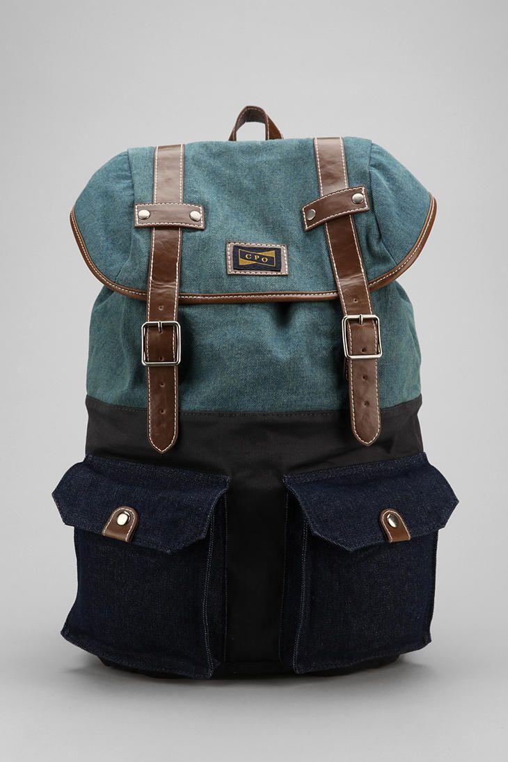 b87819bf112 CPO Blocked Backpack - Urban Outfitters Denim Rugzak, Modieuze Rugzak,  Hipster Rugzak, Rugzak