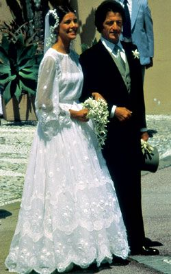 HSH Princess Caroline of Monaco, the eldest child of Prince Rainier and Princess Grace, married commoner Philippe Junot on June 29, 1978. The bride was 17 years his junior. They divorced in 1980. She was married again in 1983 to Stefano Casiraghi and they had 3 children together. He was killed in a speed boat accident in 1990 at the age of 30. Princess Caroline was married a third time in 1999 to Prince Ernst August of Hanover, and they have a daughter, Princess Alexandra.