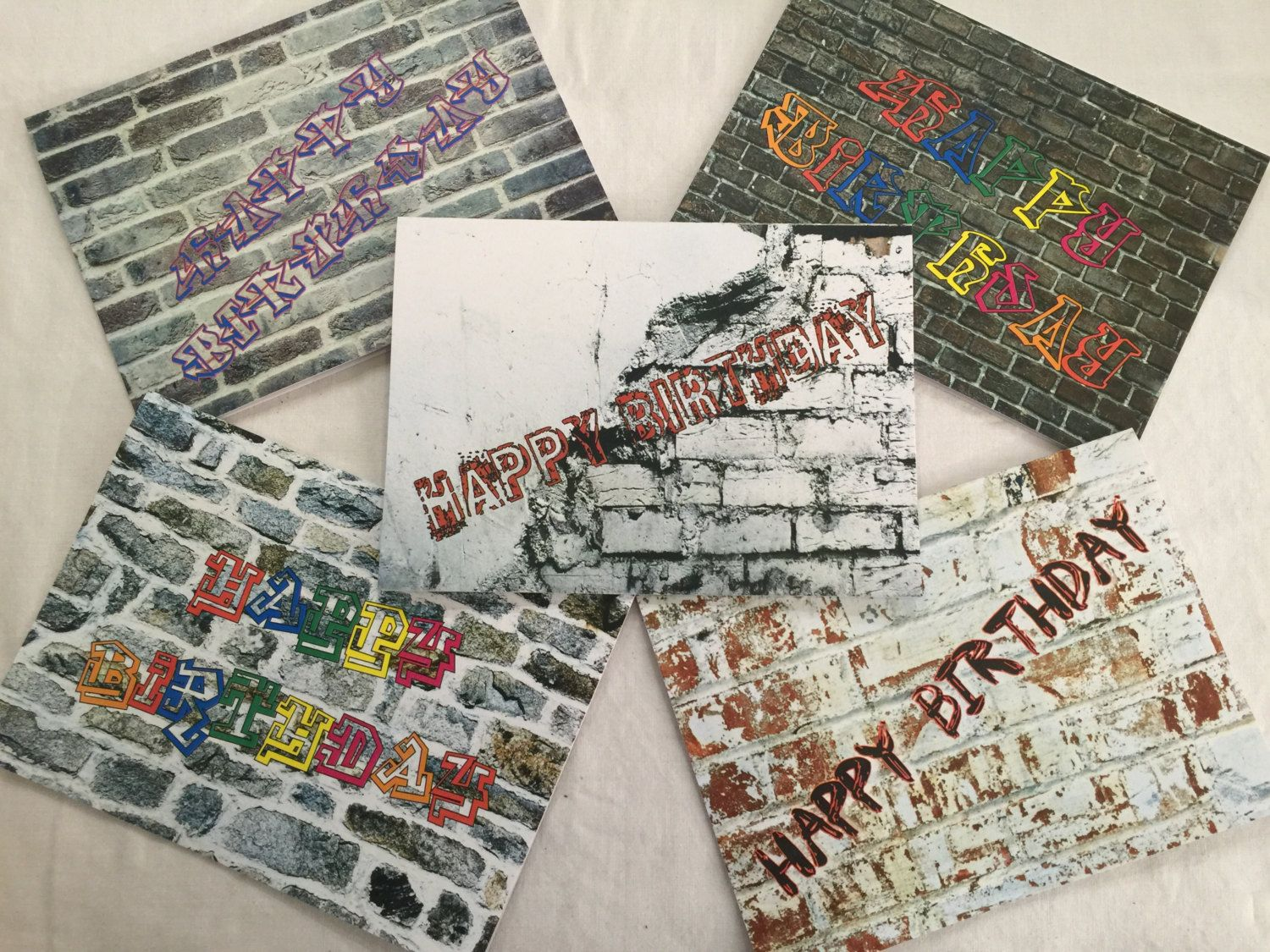 Graffiti Birthday Cards Variety Pack 5 Cards With 5 Envelopes By