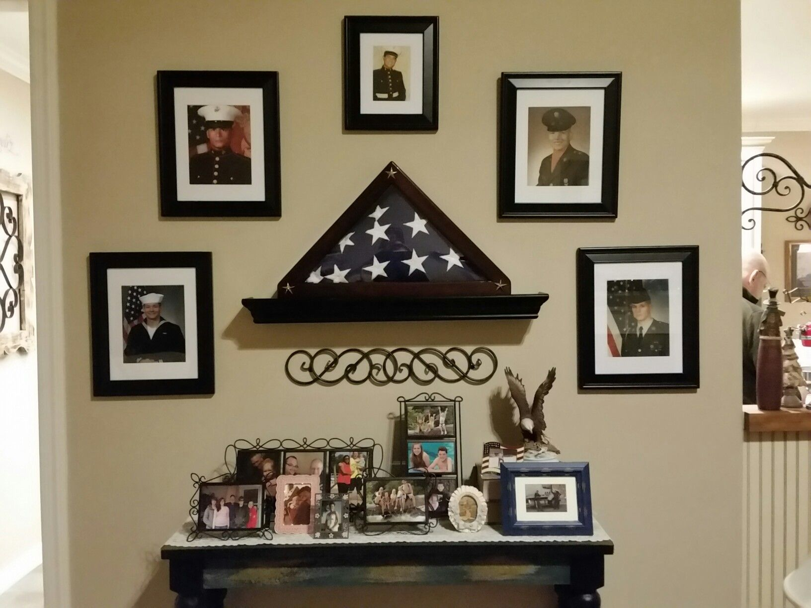 Family military heritage wall | My completed projects in ... on mid century modern wall design, inspirational wall design, curtain wall design, handmade wall design, decorating idea wall design, exterior home wall design, rustic log cabin wall design, quilting wall design, modern interior wall design,