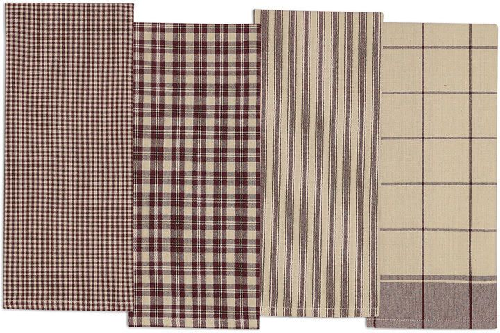 Design Imports Plum Set Of 4 Kitchen Towels