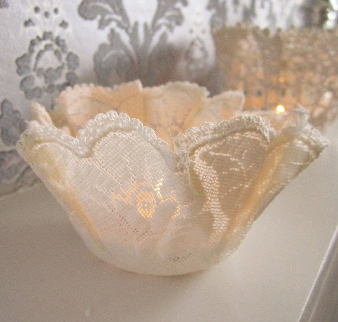 Very pretty vintage lace doily tealight candle holder handmade