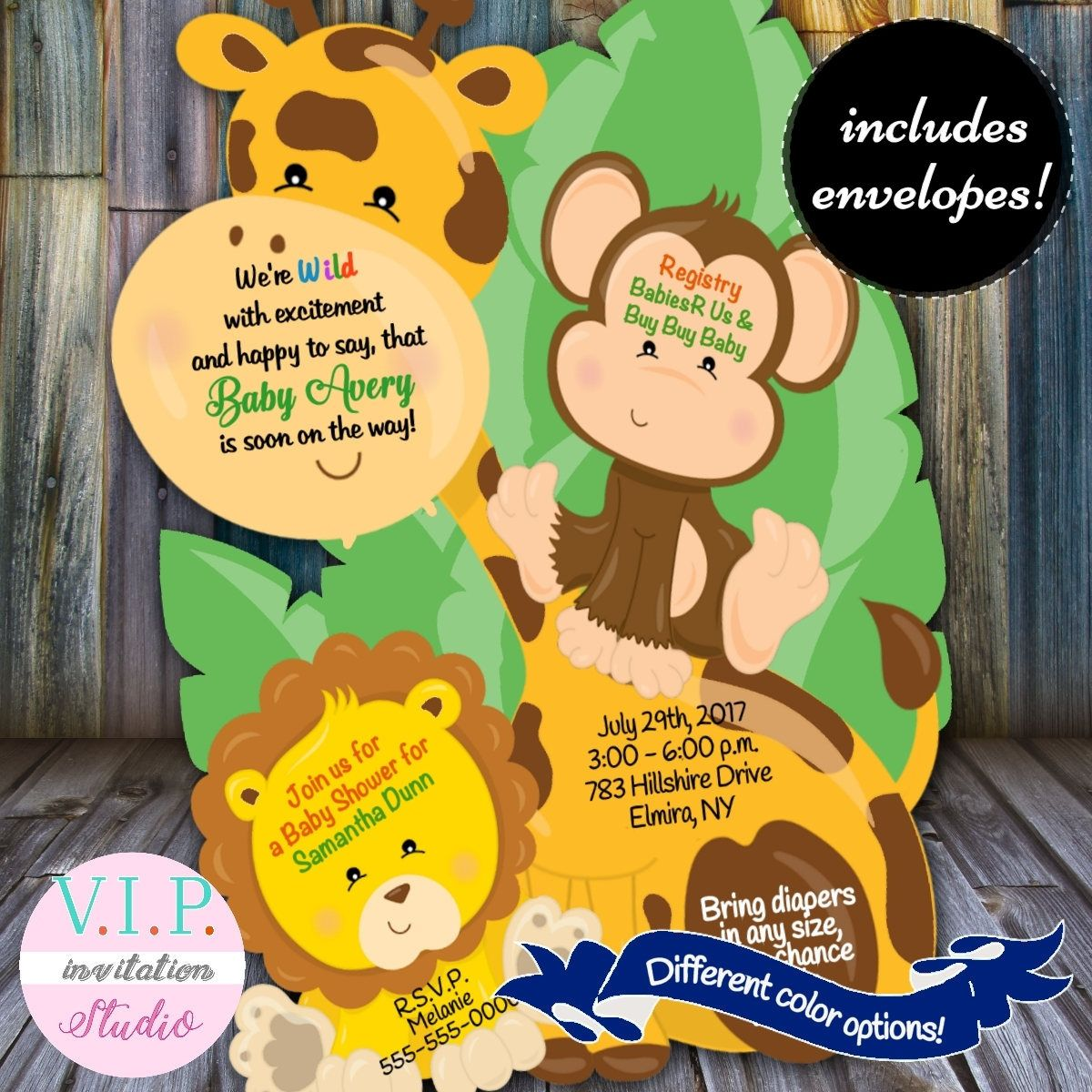 Safari Baby Shower Invitation, Safari Invitation, Jungle Invitation ...