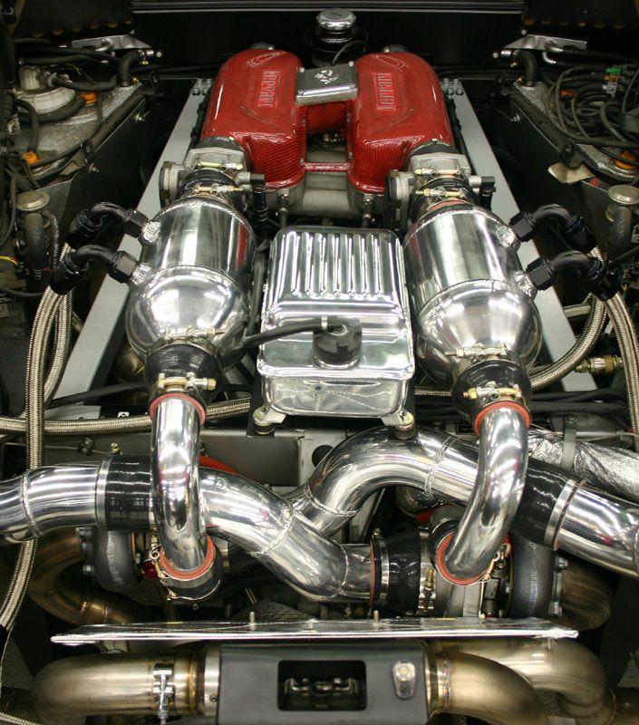 custom Twin Turbo Ferrari 360 Modena engine bay. Chrome heaven ...
