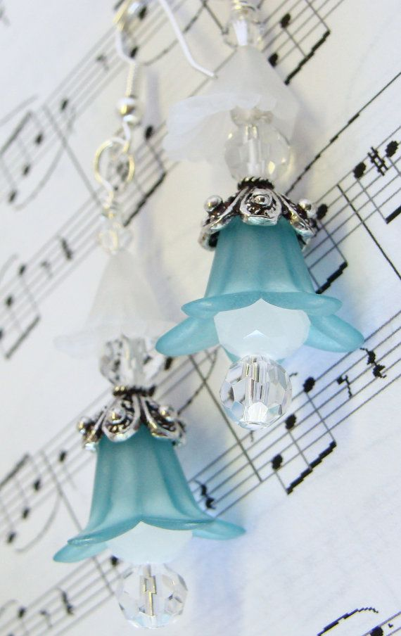 Delicate Teal Lily and White Cali Lily Earrings with by GirlieGals, $12.00