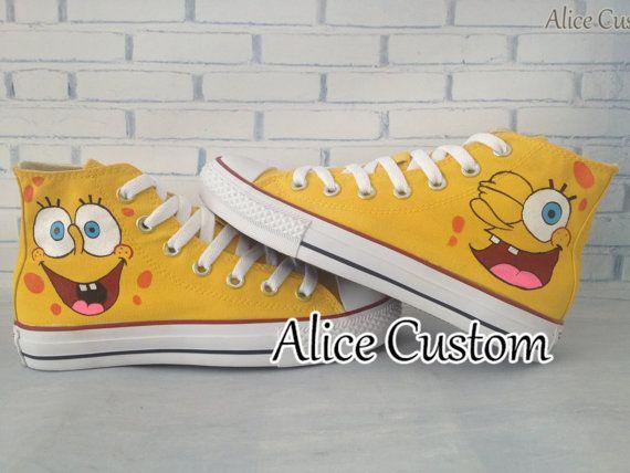 1731ff87779c SpongeBob SquarePants Converse Shoes-Hand Paint by AliceCustom