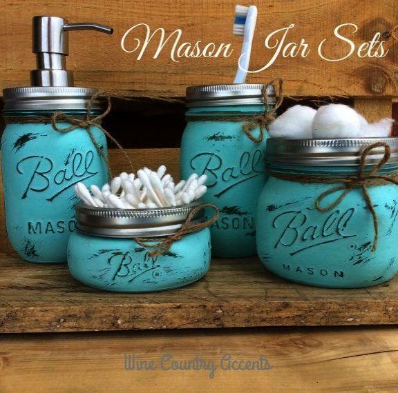 Painted Mason Jars. Bathroom Decor. Home Decor. Beach