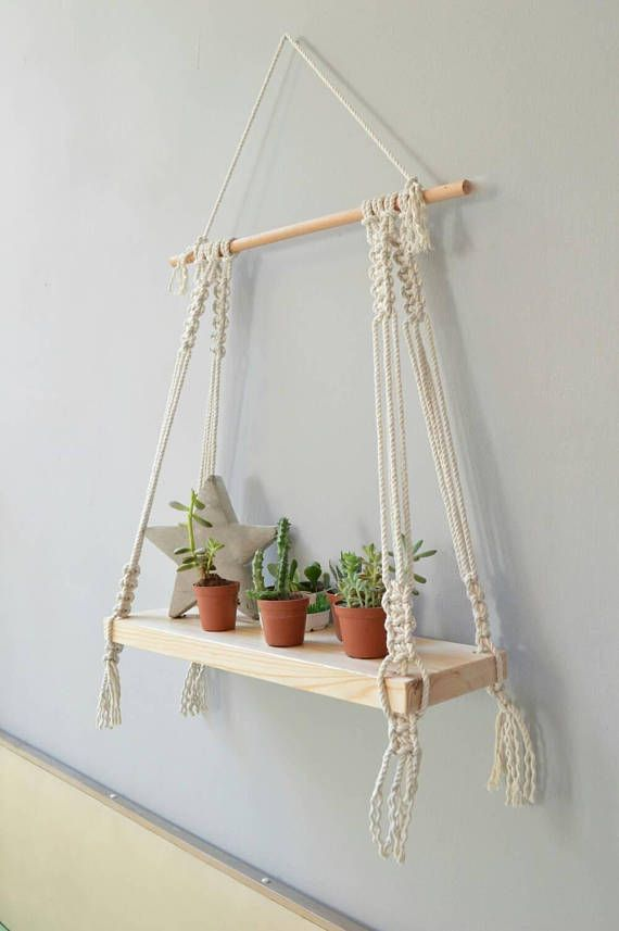 one Macrame shelf, Macrame wall hanging shelf, Modern ...