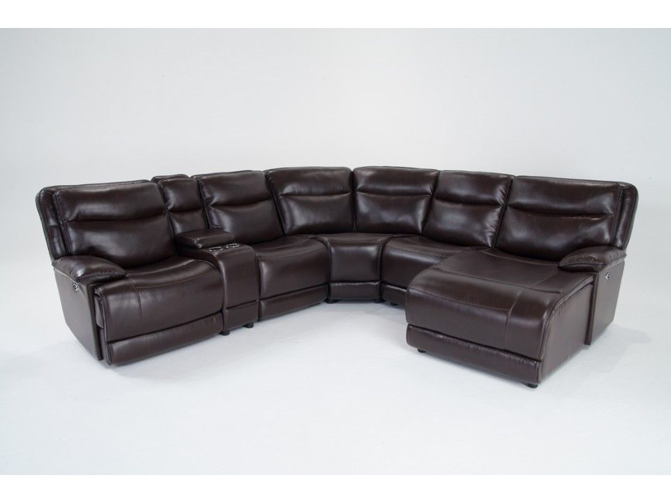 power reclining 6 piece left arm facing sectional with bobopedic memory foam