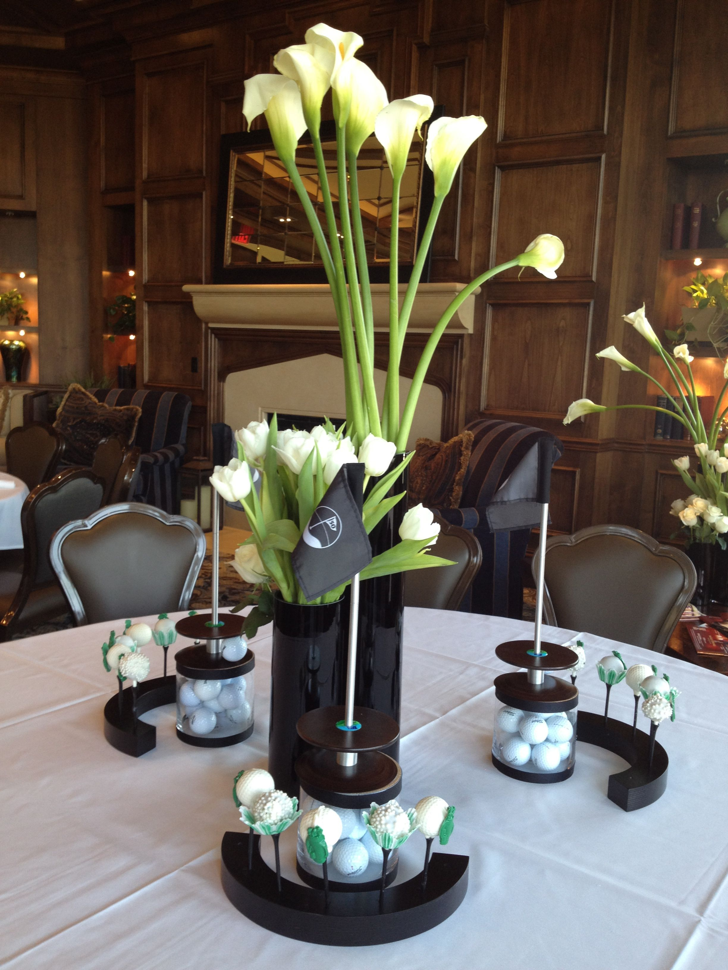 Upscale golf party centerpieces buffet and centerpiece for Golf centerpiece ideas