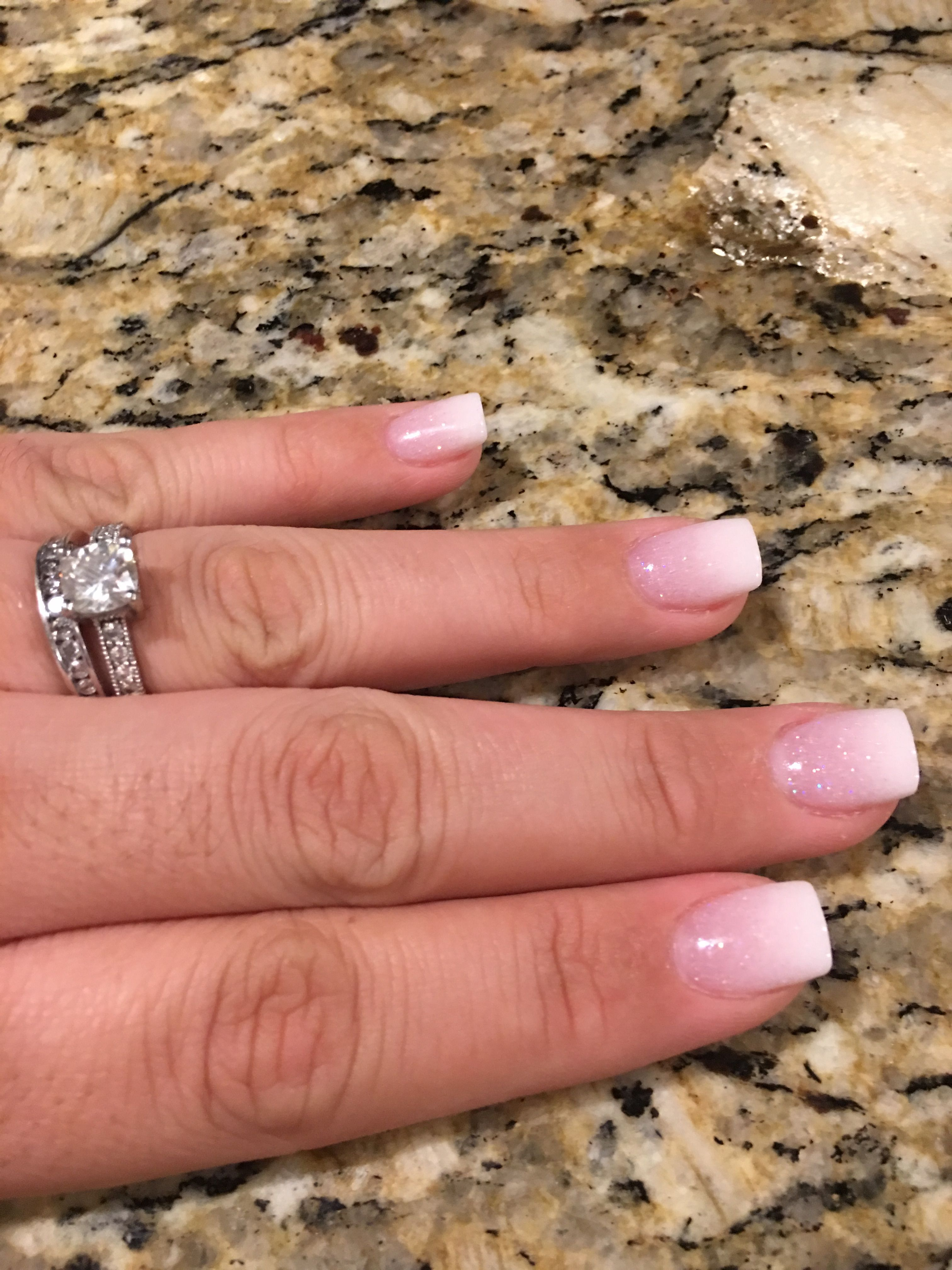 Pink And White Ombre With Glitter Ombre Nails Glitter White