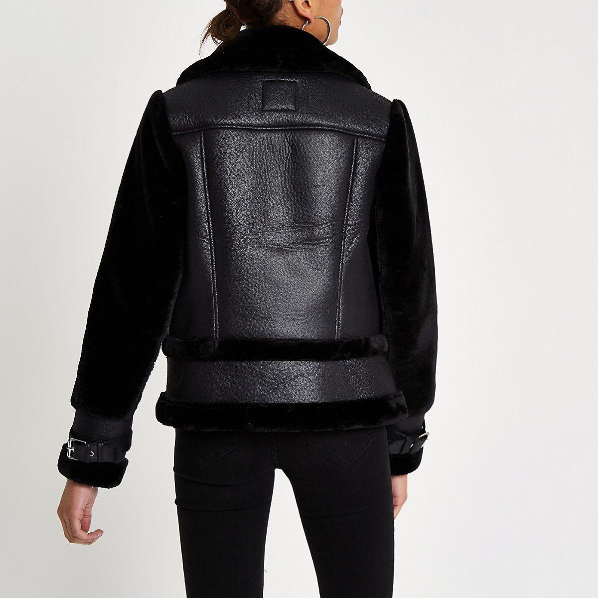 Black faux fur aviator jacket Aviator jackets, Jackets