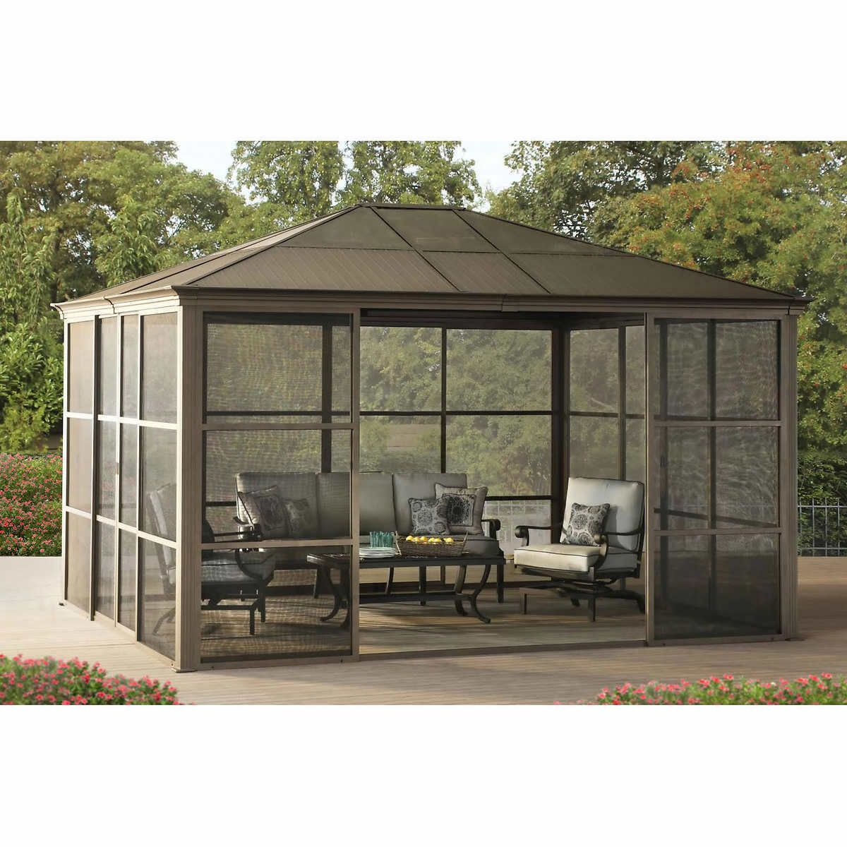 12 X 14 Hardtop Gazebo Metal Steel Aluminum Roof Post Outdoor For