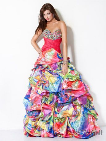 splatter paint prom dresses | Jovani style # 171651 is a strapless ...