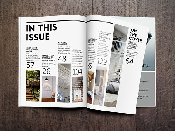 magazine cover table of contents on behance dtp pinterest