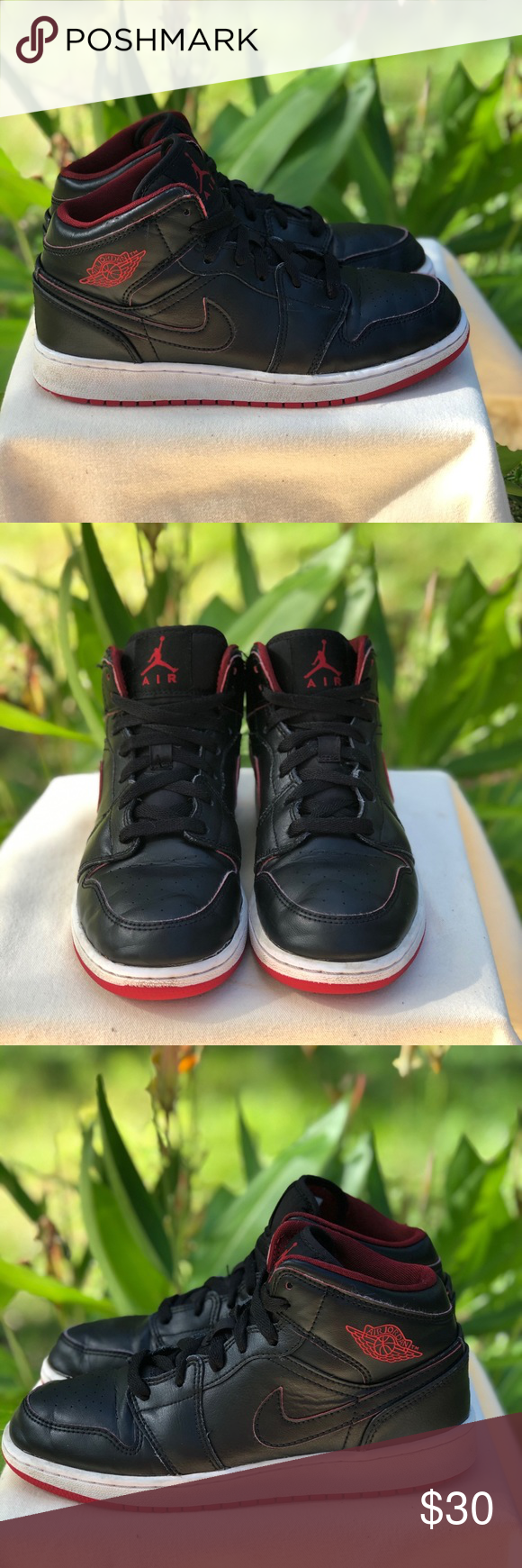 Air Jordan 1 Retro Mid GS Black Gym Red US 5Y Nike Air