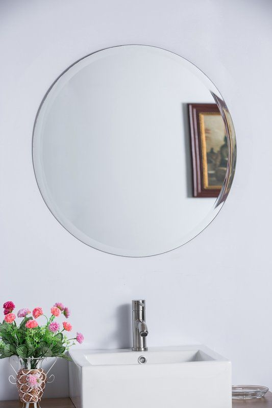 Marsh Round Wall Mirror Bellaterra Home Frameless Mirror