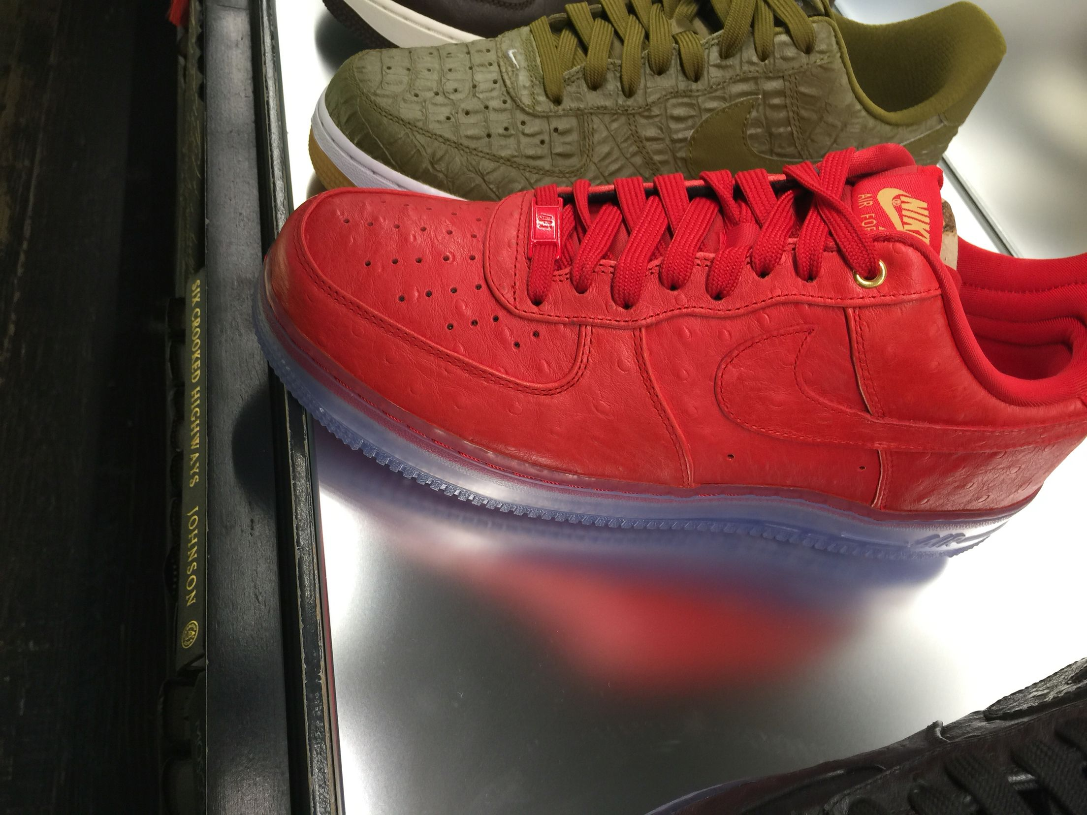 f46b00f9a3cb Red Air Force ones clear bottom