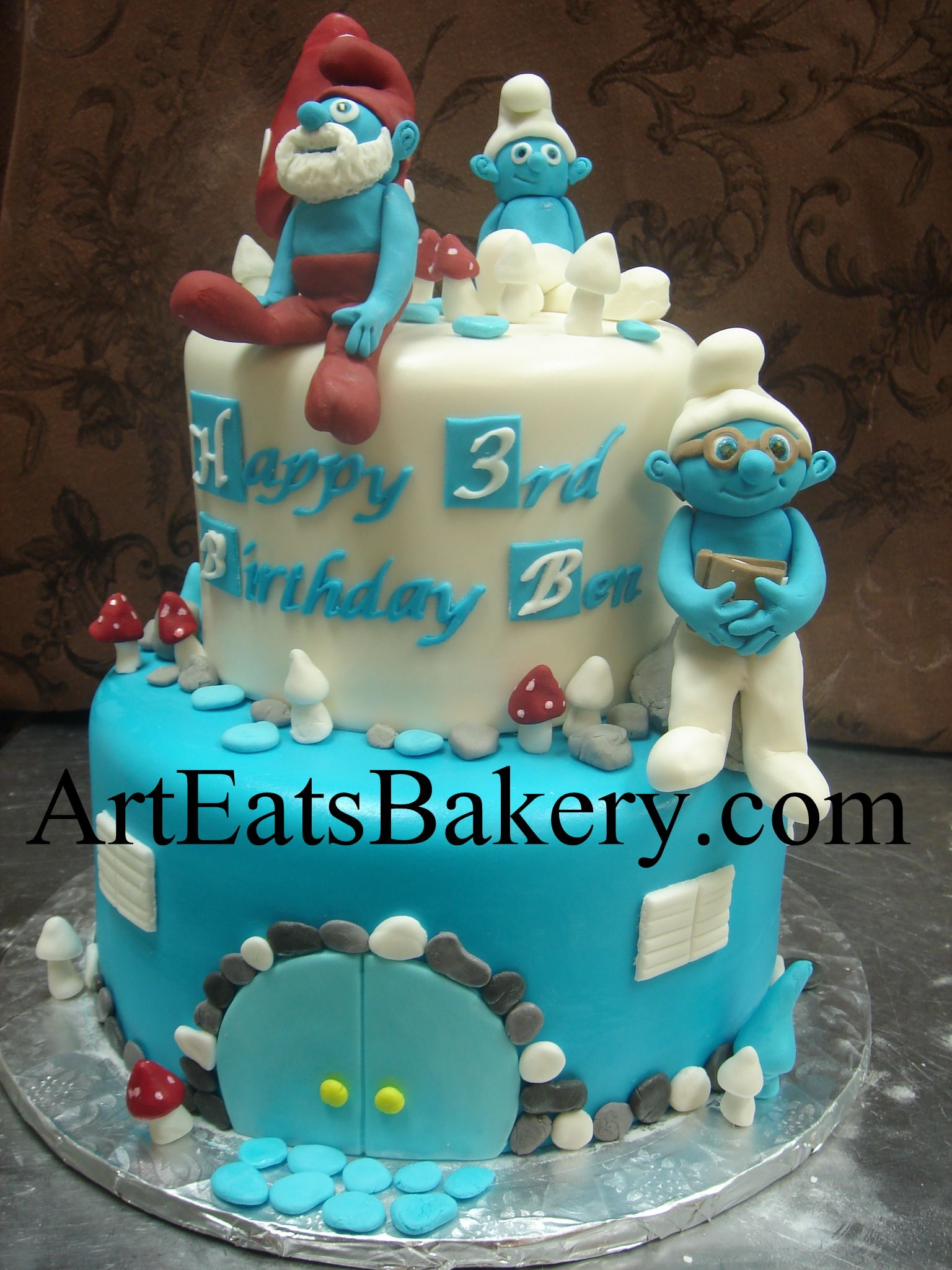 Two Tier Blue And White Fondant Kids Custom Unique Smurf Birthday