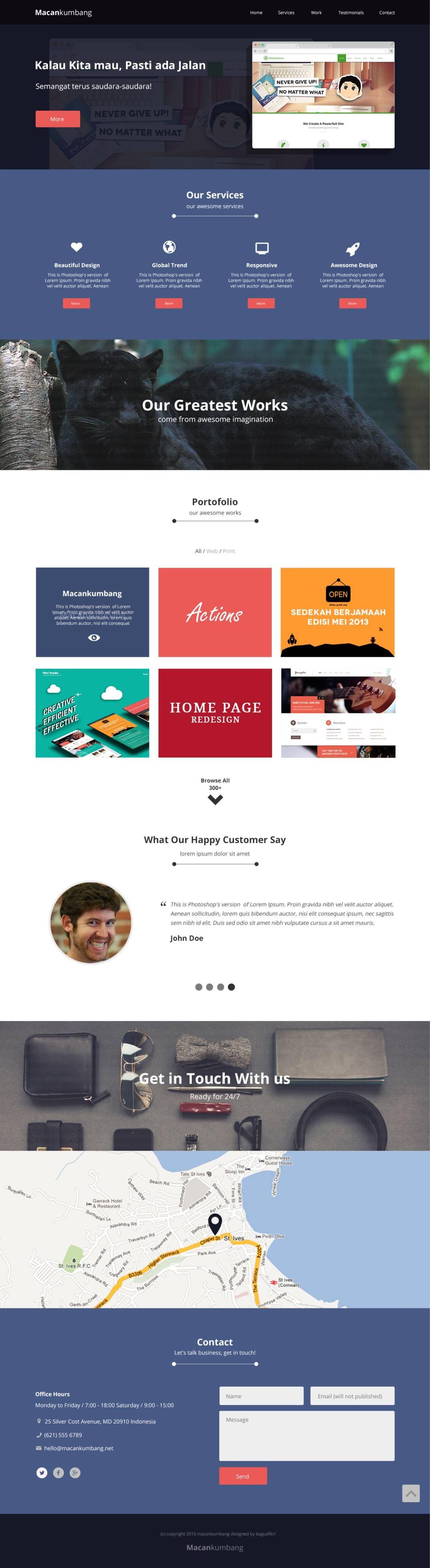 One Page Website Design Macan Kumbang Fribly Web Design Resources Website Design Web Development Design