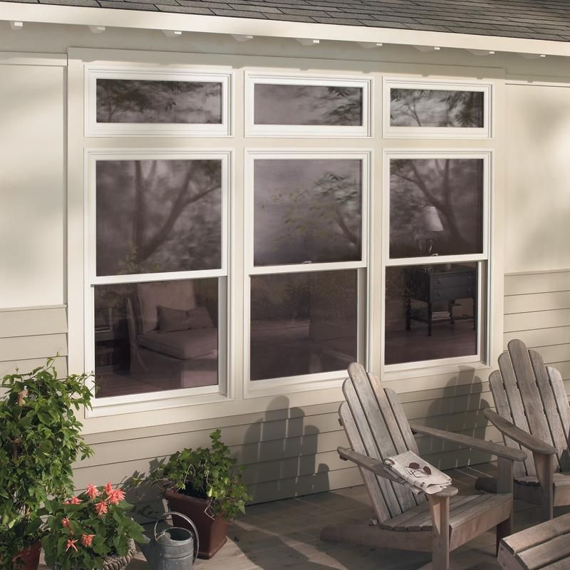 Exterior Double Hung And Transom Windows Over Entry Door