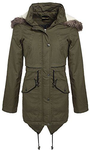 Ladies Plus Size Fur Hooded Fish Tail Parka Jacket Winter Coat 18-24