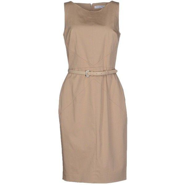 Dior Knee-length Dress (13.105 ARS) ❤ liked on Polyvore featuring dresses, khaki, knee high dresses, zipper dress, cotton stretch dress, christian dior dresses and khaki dress