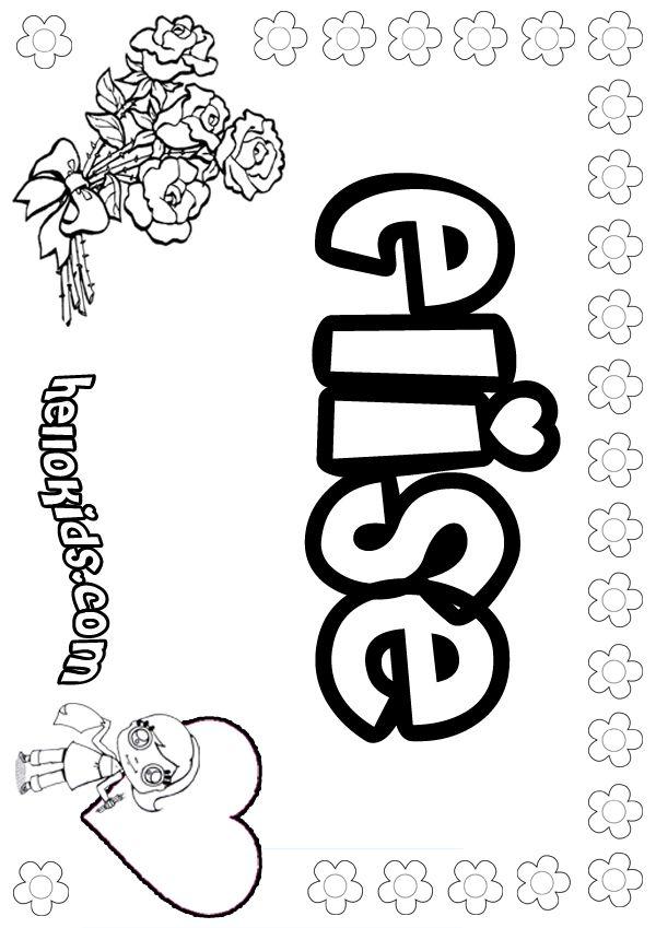 Elise Coloring Page Nomes Para Colorir Paginas Para Colorir