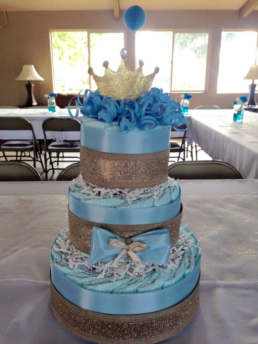 Gold Baby Blue Diaper Cake Prince Diaper Cake Boy Diaper Cake