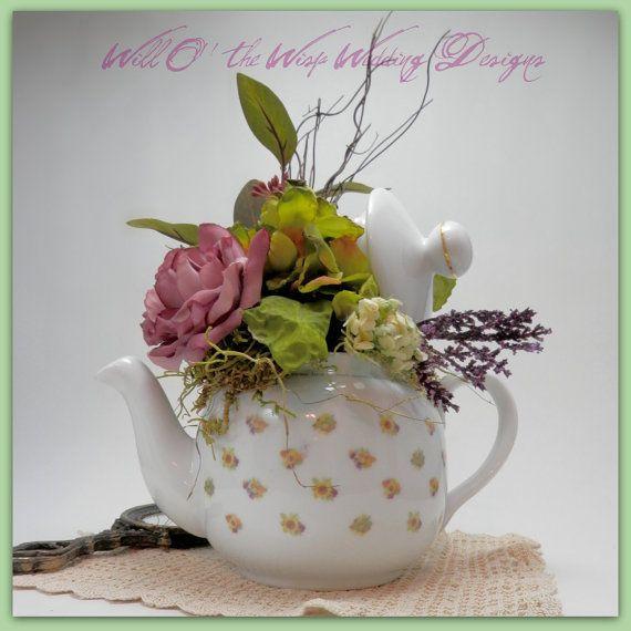 Tea Party Centerpieces: Scriptural Teapot Centerpiece Wedding Tea Party Decor