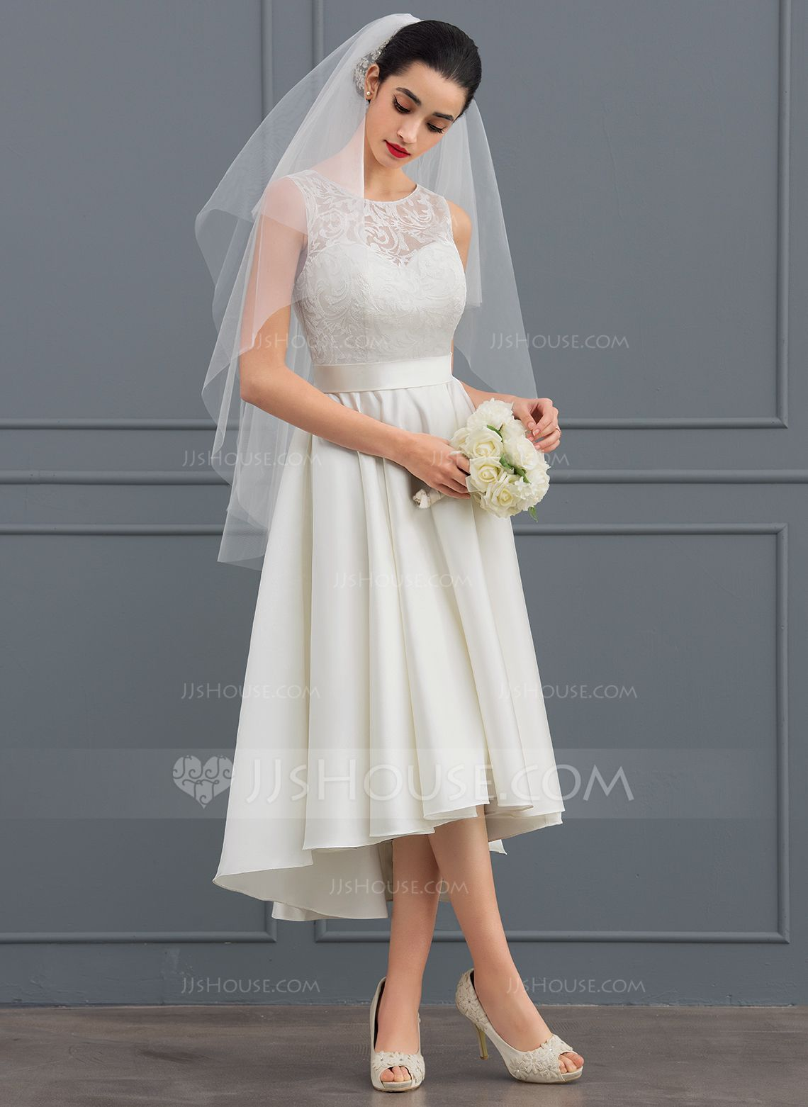 Us 127 00 A Line Illusion Asymmetrical Satin Lace Wedding Dress