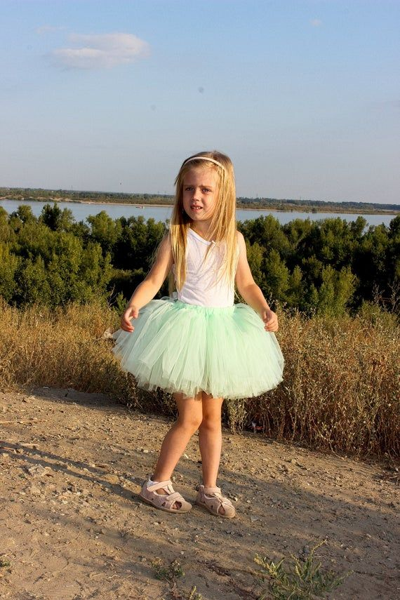 Photo of Mint green tulle skirt, Ballerina birthday outfit, Outfit for Easter, Tutus for girls