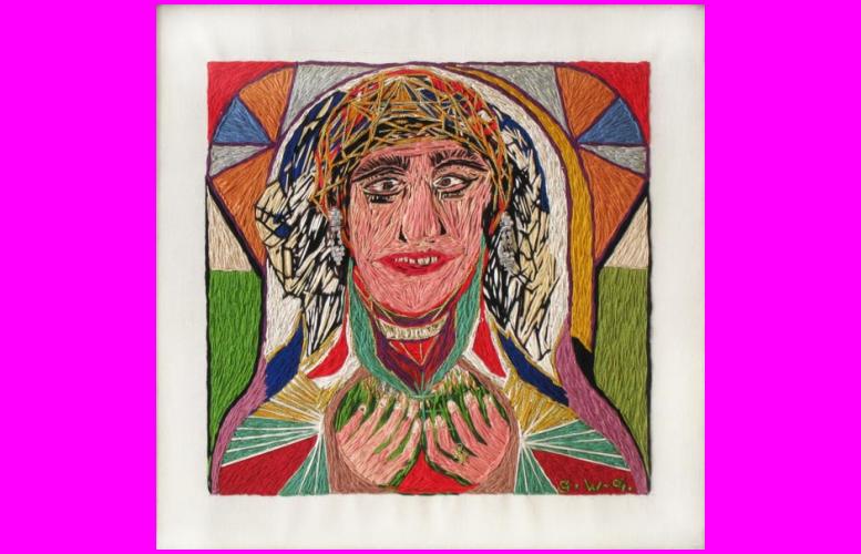 Marie | 1969 | Broderie sur toile de lin, strass,peinture, montée sur châssis | 40 x 40 cm